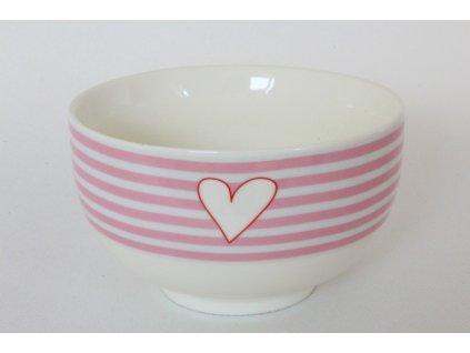 Porcelánová miska SRDCE růžová