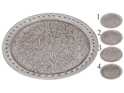 Plechový podnos kulatý průměr 35,5 cm olivový