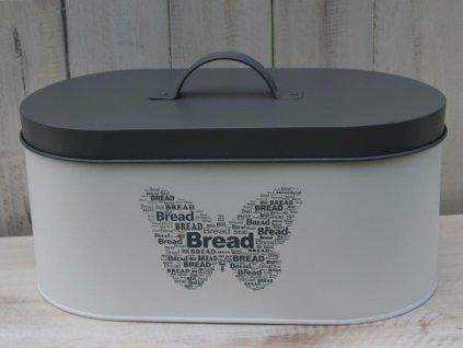 Plechový box na pečivo 15,5x34x18 cm šedá/smetanová