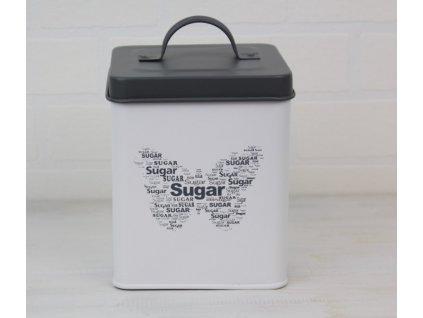 Plechová dóza Sugar 14x12x12 cm šedá/smetanová