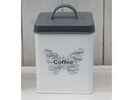 Plechová dóza Coffee 14x12x12 cm šedá/smetanová