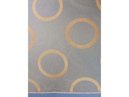 Organza se vzorem výška 300 cm kruhy, barva oranžová