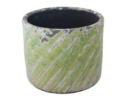 Obal na květináč 15x15x12,5 cm zelená/tyrkysová