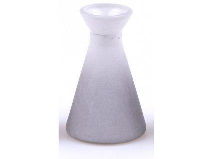 Malá skleněná vázička bílo/šedá 10,5 cm