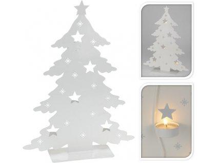 Kovový vánoční stromeček na 4 čajové svíčky 8x30x40 cm bílý