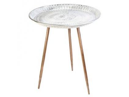 Kovový stolek kulatý 45x45x50 cm stříbrná/bronzová