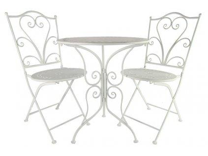 Kovový nábytek 1x stůl kulatý, 2x židle v bílé barvě s patinou