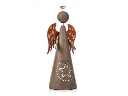 Kovový anděl s hvězdou výška 33 cm šedý