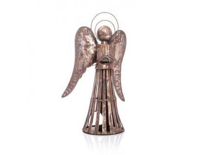 Kovový anděl na svíčku s patinou 23x15x40 cm stříbrná/šedá