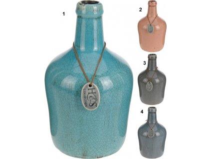 Keramická váza 13,5x13,5x27 cm starorůžová