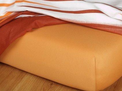 Jerseyové prostěradlo do gumičky 27-B 185g/m2 karamelové