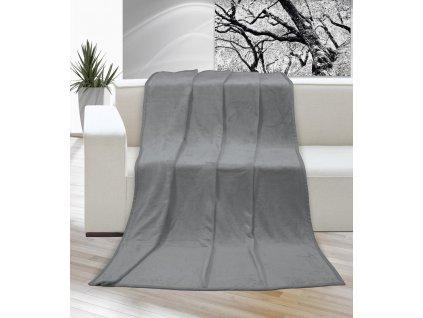 Hřejivá deka příjemná na dotek Korall micro 400g/m2 200x230 cm šedá