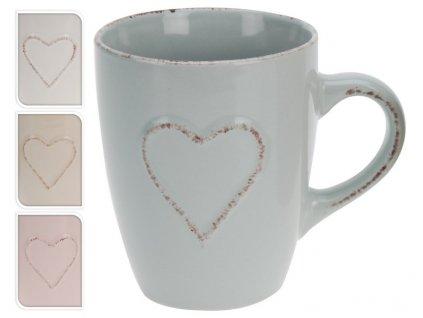 Hrnek s ouškem Srdíčko obsah 400 ml latte