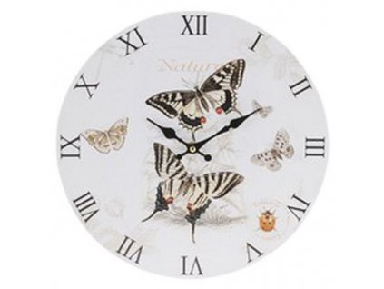Hodiny nástěnné kulaté průměr 33 cm motýlci barva hnědá