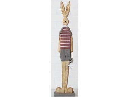 Dřevěný zajíc s kytičkami 12x8x61 cm přírodní/starorůžová/šedá