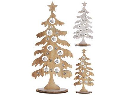 Dřevěný vánoční stromeček s rolničkama výška 36 cm bílý