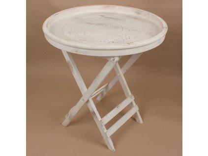 Dřevěný stůl skládací 56x56x59,5 cm s bílou patinou