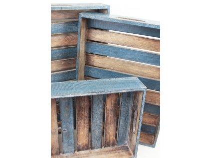 Dřevěný podnos 7x28x39 cm přírodní/modrá