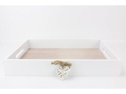 Dřevěný podnos 5x34x24 cm bílý/přírodní
