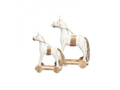 Dřevěný kůň na kolečkách výška 32 cm bílá/přírodní