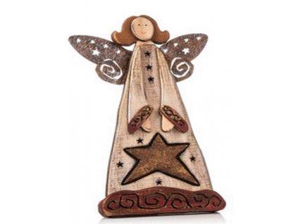 Dřevěný anděl 200037 výška 25 cm