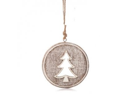 Dřevěná vánoční ozdoba s patinou Stromek průměr 8 cm přírodní/smetanová