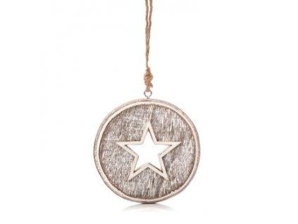 Dřevěná vánoční ozdoba s patinou Hvězda průměr 8 cm přírodní/smetanová