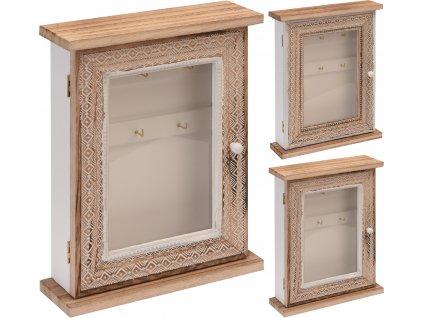 Dřevěná skříňka na klíče zavírací přírodní