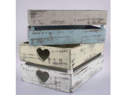 Dřevěná přepravka 9,5x24x37 cm modrá/šedá