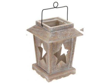 Dřevěná lucerna s výřezy-hvězdy 16x16x29 cm přírodní