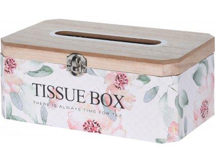 Dřevěná krabička na kapesníčky s květinovým vzorem 10x14x24,5 cm