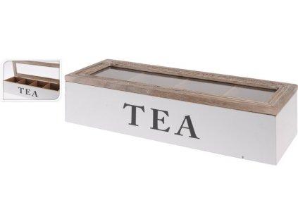 Dřevěná krabička na čaj 34x11,5x7,5 cm bílá/přírodní