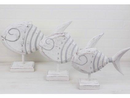 Dřevěná dekorace Ryba 35x26x8 cm bílá/šedá