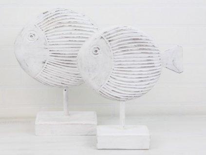Dřevěná dekorace Ryba 31x35,5x9 cm přírodní/bílá