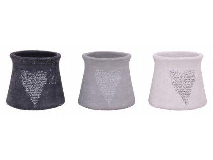 Dekorativní keramický obal na květináč šedý 20,5x20,5x17,5