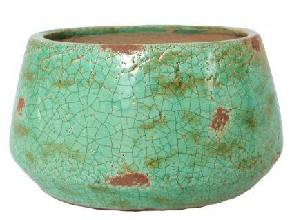 Dekorativní keramický obal na květináč 24x18,5x13,5 zelený