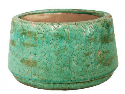 Dekorativní keramický obal na květináč 21,5x13,5x12,5 zelený