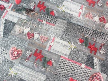Dekorační látka s vánočním motivem šíře 140 cm červená/šedá