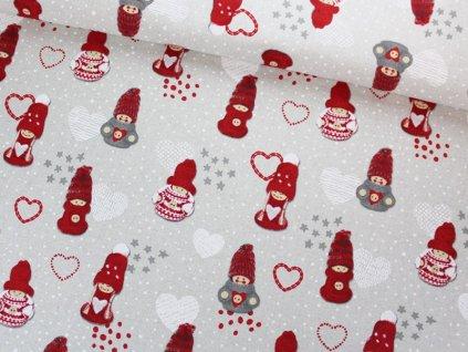 Dekorační látka s vánočním motivem šíře 140 cm červená/přírodní