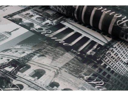 Dekorační látka Black Out města šíře 150 cm šedá