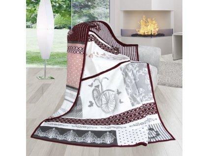 Deka Karmela Plus-romantika 450g/m2 150x200 cm starorůžová/šedá
