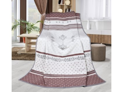 Deka Karmela Plus-orient 450g/m2 150x200 cm šedá/starorůžová