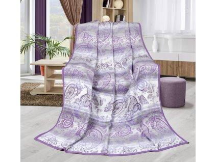 Deka Karmela Plus-fialový kašmír 450g/m2 150x200 cm fialová/šedá