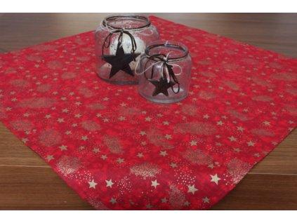 Bavlněný vánoční ubrus 65x65 cm zlaté hvězdičky/červená