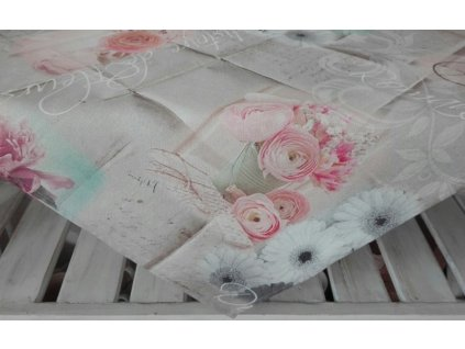 Bavlněný ubrus s květinovým vzorem Romance 65x65 přírodní