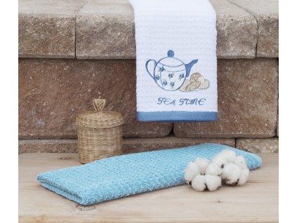 Bavlněné froté utěrky TEA Time 40x70 cm bílá/světle modrá