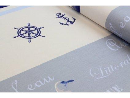 Bavlněná látka s námořnickým motivem š.160 cm modrá/smetanová