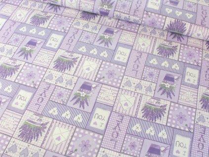 Bavlněná látka s levandulí patchwork šíře 145 cm fialová