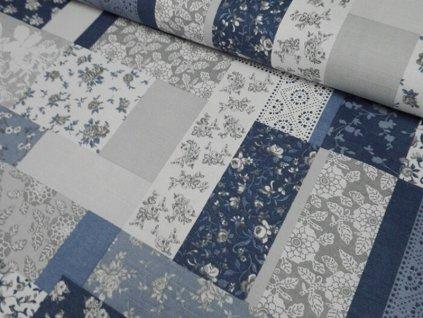 Bavlněná látka patchwork 210g/m2 šíře 140 cm modrá/šedá