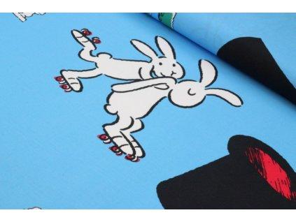 Bavlněná látka králíci z klobouku šíře 140 cm modrý podklad